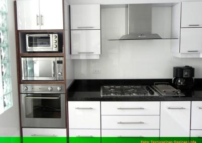 Cocina integral con torre de hornos, campana en isla y cubierta en granito