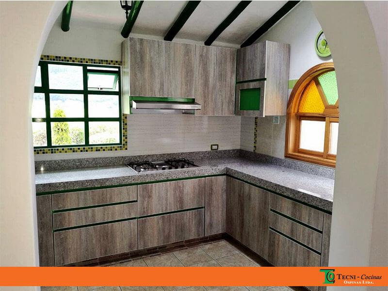 cocina integral en formica con mesn en granito instalada en tenjo