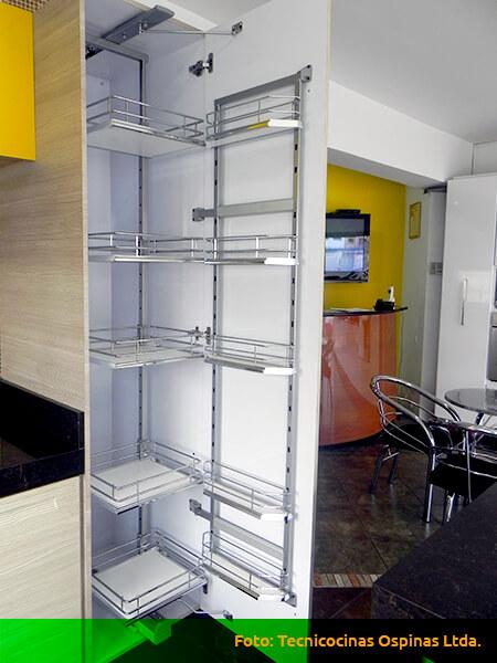 Alacenas para organizar usando diversos materiales for Herrajes para cocina