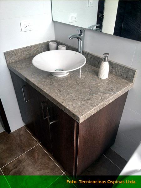 Muebles de ba o acabados en f rmica m rmol y granito Muebles para lavabos de madera
