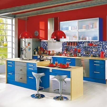 Beneficios en decoraci n para el hogar en modo tricolor - Cocinas azul tierra ...