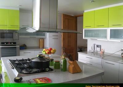 Cocina integral con isla, torre de hornos y cubierta en caesarstone.