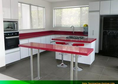 Cocina integral con perfil en aluminio, isla y cubierta en caesarstone.