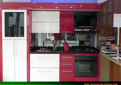Cocina integral con plafón, puertas en vidrio y cubierta en granito.