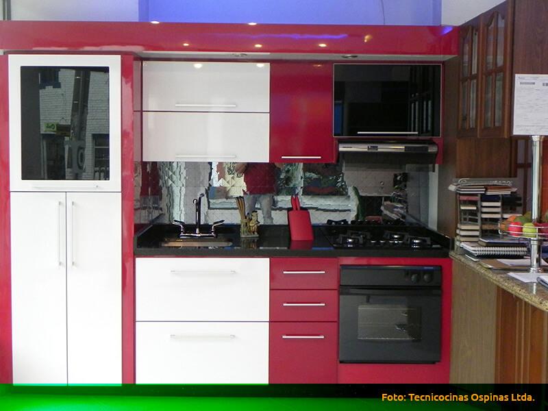 Cocinas integrales terminadas en pintura poliuretano - Cocinas con bloques de vidrio ...